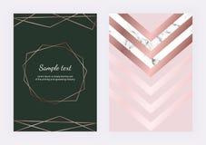 Den geometriska designen med guld- rosa linjer, marmorerar triangulära beståndsdelar och den polygonal ramen Moderna mallar för i royaltyfri illustrationer