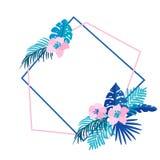 Den geometriska sommarkransen med tropiskt gömma i handflatan blomman och stället för text För vektorträdgård för plan ört abstra vektor illustrationer