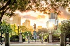 Den George Washington monumentet arbeta i trädgården offentligt Boston Massachusetts royaltyfria foton