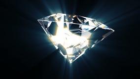 Den glänsande dyrbara diamanten roterar runt om dess axel som är i stånd till att kretsa stock illustrationer