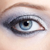Den glänsande kvinnan synar makeup Royaltyfria Foton