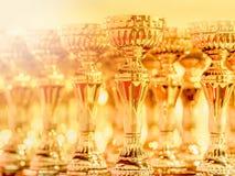 Den glänsande trofén är hedern av vinnaren, skinande guld- throphy line up på tabellen arkivfoto