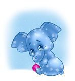Den glada julen behandla som ett barn elefanten Royaltyfri Fotografi