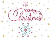 Den glada julen hand bokstäver blå vektor för sky för oklarhetsbildregnbåge Arkivfoto
