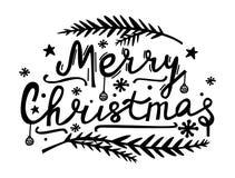 Den glada julen hand bokstäver Klotterstilillustration med Xmas-symboler Modern bokstäver för kort, affischer, t-skjortor, baner vektor illustrationer