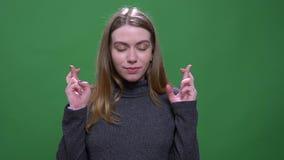 Den glade blonda modellen ber med korsade fingrar som hoppas f?r lycka och framg?ng som isoleras p? gr?n chromakeybakgrund lager videofilmer