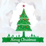 Den glade julgranen och dekorerar design med text Arkivfoton