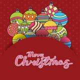 Den glade julkortbakgrundsdesignen med garnering klumpa ihop sig beståndsdelar Klotter för hälsningkort vektor illustrationer