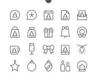 Den glade vektorn för PIXELet för jul UI Brunn-tillverkade Perfect fodrar thin symboler 48x48 som är klara för rastret 24x24 för  Royaltyfri Bild
