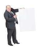 Den gladlynt överviktiga manen med ett tomt undertecknar Arkivfoto