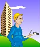 Gladlynt byggmästare stock illustrationer