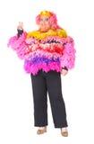 Den gladlynt manen, transvestit, i ett kvinnligt passar Fotografering för Bildbyråer