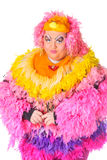 Den gladlynt manen, transvestit, i ett kvinnligt passar Royaltyfri Foto