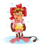 Den gladlynta apan blinkar på dig och kastar en kasta snöboll Arkivbild