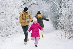 Den gladlynta familjen i spela för trän kastar snöboll Royaltyfri Fotografi