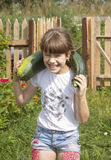 Den gladlynta flickan är i kök-trädgården som samlar zucchinin Royaltyfria Bilder
