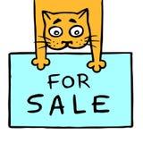 Den gladlynta katten rymmer dess framdel tafsar till salu också vektor för coreldrawillustration Royaltyfria Foton