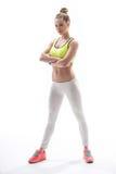 Den gladlynta kvinnliga idrottsman nen med perfekt bantar diagramet Royaltyfria Foton