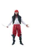 Den gladlynta mannen piratkopierar in dräkten som isoleras på vit Arkivbilder