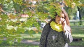 Den gladlynta rödhåriga unga kvinnan med fräknar på telefonen och läser meddelanden, medan gå i hösten, parkerar på a arkivfilmer