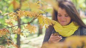 Den gladlynta rödhåriga unga kvinnan med fräknar på telefonen och läser meddelanden, medan gå i hösten, parkerar på a lager videofilmer