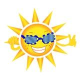 Den gladlynta solen i exponeringsglas ler och visar en gest av godkännande vektor Vit bakgrund vektor illustrationer