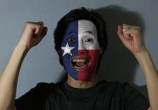 Den gladlynta ståenden av en man med flaggan av Texas målade på hans framsida på grå bakgrund Begreppet av sporten eller national fotografering för bildbyråer