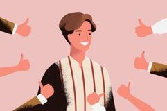 Den gladlynta unga mannen som omges av händer som visar tummar gör en gest upp Begrepp av offentligt godkännande, positiv åsikt stock illustrationer