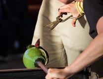 Den Glass blåsaren arbetar på den utsmyckade gröna flaskan Royaltyfri Fotografi