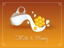 Den Glass kannan med mjölkar och honung Arkivbild