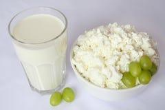 Den Glass koppen med mjölkar, den vita porslinmaträtten med keso, gröna druvor Fotografering för Bildbyråer