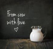 den glass tillbringaren mjölkar Arkivbild
