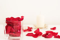 Den Glass vasen fyllde med röda roskronblad, den vita aromatiska vaniljstearinljuset Vit bakgrund aromatherapy begrepp Arkivbild