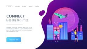 Den globala internet av saker ilar illustrationen för stadsbegreppsvektorn royaltyfri illustrationer