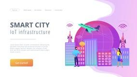 Den globala internet av saker ilar illustrationen för stadsbegreppsvektorn vektor illustrationer
