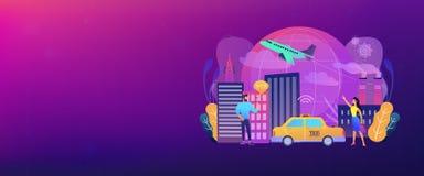 Den globala internet av saker ilar stadstitelradbanret royaltyfri illustrationer
