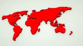 Den globala världskartan, plan översikt för jord 3d är på väggen, jordklotworldmapsymbolet, 3d framför datoren frambragte bakgrun stock video