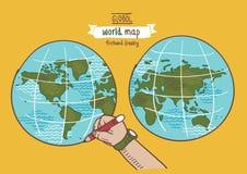 Den globala världskartan skissar vektorn Vektor Illustrationer