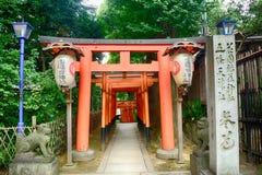 Den Gojo Tenjin Shintorelikskrin i Ueno parkerar, Tokyo, Japan fotografering för bildbyråer