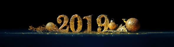 2019 in den Goldzahlen, die das neue Jahr feiern lizenzfreies stockfoto