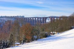 Den Goltzsch dalen överbryggar i vinter Arkivfoto
