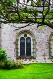 Den gotiska fönsterdetaljen av herrgården på Margam parkerar Royaltyfria Foton