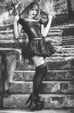 Den gotiska flickan med skyler Royaltyfri Fotografi