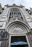 Den gotiska kyrkan av den sakrala hjärtan vid floden Tiber i Rome Italien Fotografering för Bildbyråer