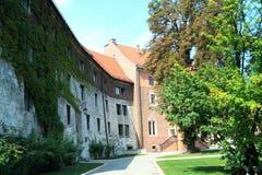 Den gotiska Wawel slotten i Krakow i Polen byggdes från 1333 till 1370 Arkivbilder