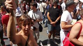 Den GoTopless dagen 2013 i NYC 104 Arkivfoto