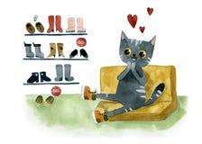 Den gråa katten i lagret köper dina favorit- skor royaltyfri illustrationer