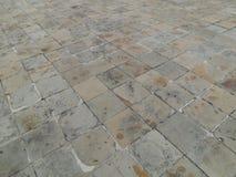 Den gråa tegelstenbanan i ett litet parkerar Royaltyfria Bilder