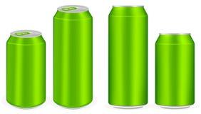 Den gröna aluminium läsken på burk vektorn Arkivbilder
