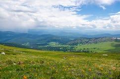 Den gröna dalen som är hög på bergen med sikten som gör klar himmel i sommardag, spangleds med att blomma blommor Fotografering för Bildbyråer
